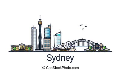 Flat line Sydney banner - Banner of Sydney city skyline in...