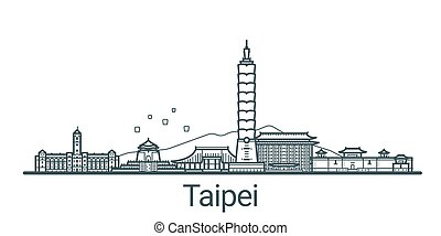Outline Taipei banner - Linear banner of Taipei city. All...