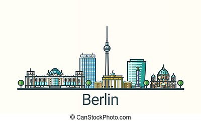 Flat line Berlin banner - Banner of Berlin city in flat line...