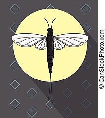 Mayfly Insect Flying Vector Illustration