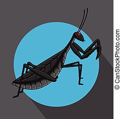 Creepy Mantid Insect Vector Illustration