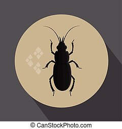 Black Totengraber Insect Vector Illustration