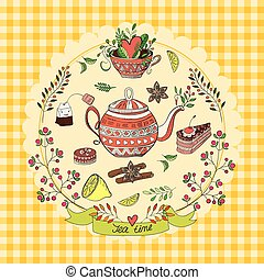 Tea time elements - Vector illustration with cute elements...