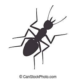 Ant Silhouette - Ant Insect Silhouette Vector Illustration