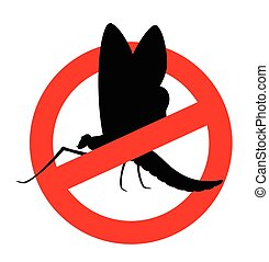 Mayfly Insect Restriction Sign Vector Illustration