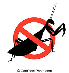 Mantid Insect Prohibited Sign Vector Illustration