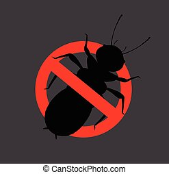Termite Insect Prohibited Sign Vector Illustration