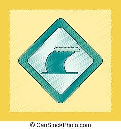 flat shading style icon tsunami sign