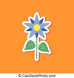 paper sticker on stylish background flower - paper sticker...