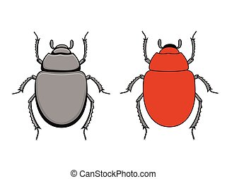 Comic Scarab Beetle Insects Vector Illustration