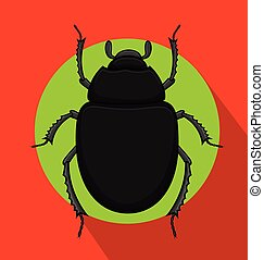 Creepy Black Scarab Beetle Insect Vector Illustration
