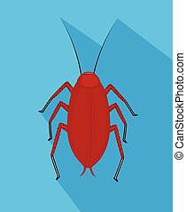 Red Cockroach Insect Vector Illustration