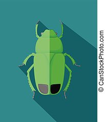 Green Poisonous Beetle Insect Vector Illustration