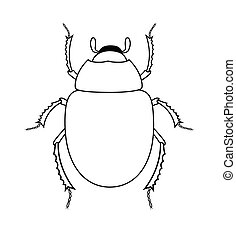 Drawing Art of Scarab Beetle Insect Vector Illustration