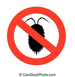 Louse Insect Prohibited Sign Vector Illustration