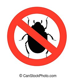 Forbidden Scarab Beetle Insects Vector Sign Vector...