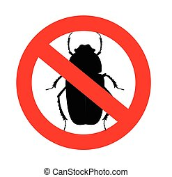 Kill Beetle Insects Vector Sign Illustration