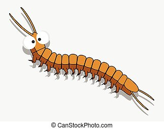Cartoon Centipede Worm Vector Illustration
