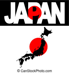 map of Japan and Japan flag text illustration