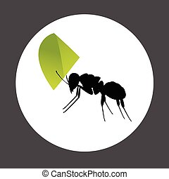 Ant Carrying a Leaf Element Vector Illustration