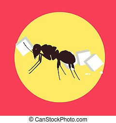 Ant Carrying Sugar Cube Vector Illustration