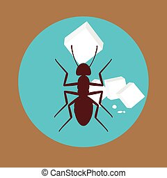 Ant with Sugar Cubes Vector Illustration