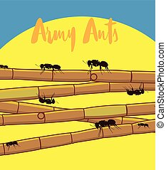 Ants on Sugarcane Sticks Vector Illustration