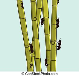 Ants Climbing on Sugarcane Sticks Vector Illustration