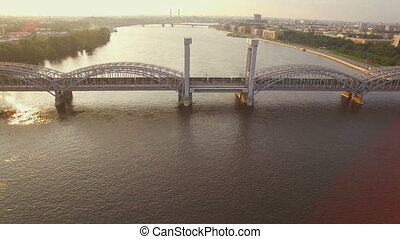 beautiful aerial view of the railway bridge across the river...