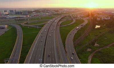 Aerial view of Highway Junction at sunset - beautiful aerial...