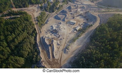 aerial view of a sandstone quarry - aerial view of sand...