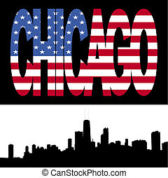 Chicago Skyline with flag text - Chicago Skyline with...