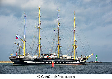 Sailing ship on the Baltic Sea in Rostock, Germany