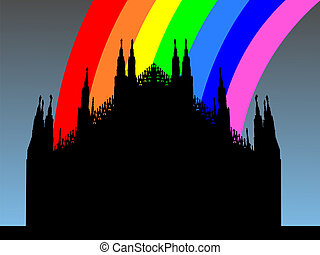 Duomo Milan with rainbow - Duomo Milan with colorful rainbow...