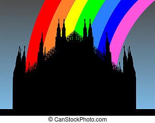 Duomo Milan with rainbow - Duomo Milan with colorful rainbow...