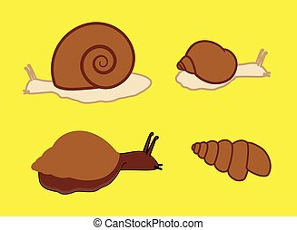 Wild Snails Animal Set Vector Illustration