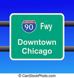 freeway to chicago sign