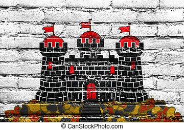 Flag of Edinburgh, Scotland, UK, painted on brick wall