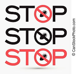 Stop Virus Messages Stickers Vector Illustration