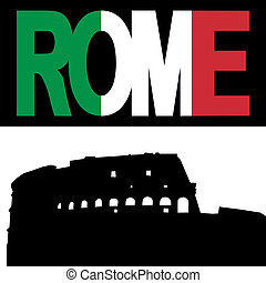 Colosseum with Rome flag text
