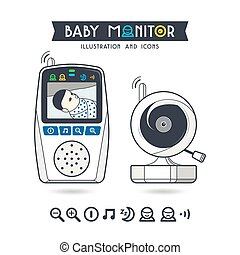 Stock vector illustration of baby monitor and icons Color...