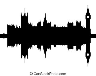 Houses of Parliament reflected with ripples illustration