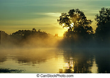 Early morning on the river, sunrise on the river early in...