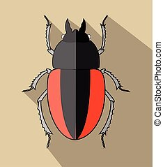 Creepy Scarab Beetle Vector Illustration
