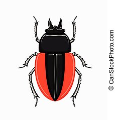 Creepy Scarab Beetle Vector - Creepy Weird Scarab Beetle...
