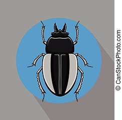 Creepy Scarab Beetle Insect Vector Illustration
