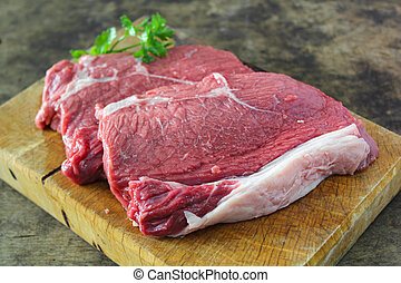 Slide top round beef preparation for cooking