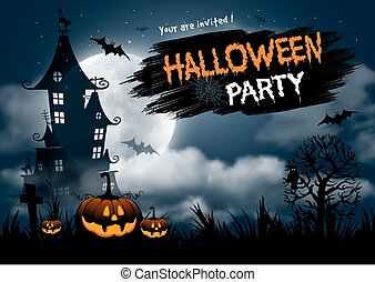 Halloween party - Halloween night background with pumpkin,...