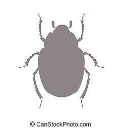 Scarab Silhouette - Vintage Scarab Insect Silhouette Vector...