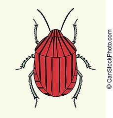 Red Striped Beetle Insect Vector - Red Striped Beetle Insect...